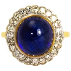 Vintage Cabochon Sapphire and Diamond 18 Carat Gold Ring
