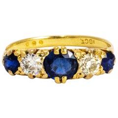 Victorian Sapphire and Diamond 18 Carat Gold Ring