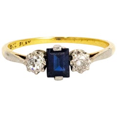 Edwardian Sapphire and Diamond 18 Carat and Platinum Ring
