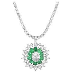 Oscar Heyman Diamond Pave and Emerald Round Platinum Pendant Necklace