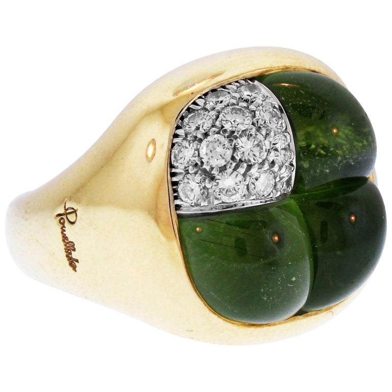 Peridot Diamond and Gold Cocktail Ring Pomellato For Sale