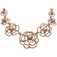 Diamonds and Pearls Link Necklace Pink Gold 18 Karat