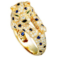 Cartier Panthère Diamond Pave, Sapphires, Emeralds and Onyx Yellow Gold Ring