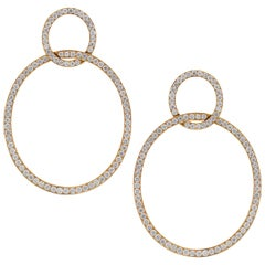 Yellow Gold and Diamond Round Drop Earrings