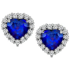 3.24 Carat Sapphire Diamond Gold Heart Earrings