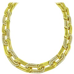 5.14 Carat Diamond Gold Link Necklace