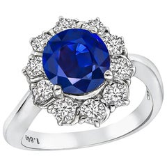 1.84 Carat Sapphire Diamond Platinum Engagement Ring