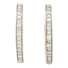 14 Karat Yellow Gold 1.14 Carat Diamond Hoop Earrings