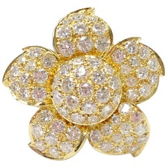 Pave White Diamond Flower Cocktail Ring in 18 Karat Yellow Gold