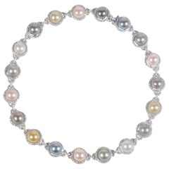 White Gold, South Sea Pearl, Tahitian Pearl and Diamond Necklace 9.53 Carat