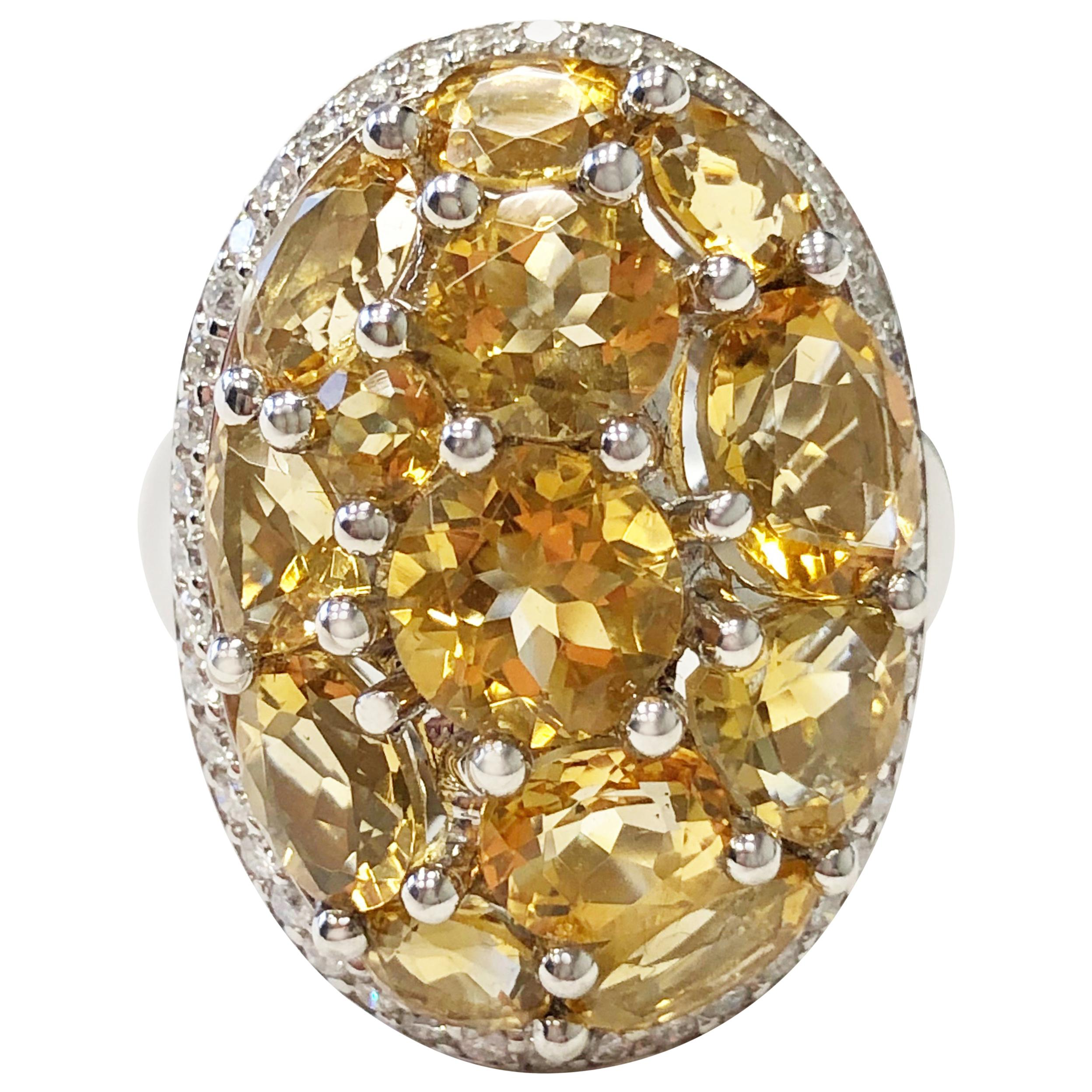 Citrine Oval and White Diamond Cocktail Ring in 18 Karat White Gold