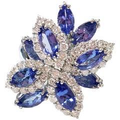 Tanzanite and Diamond Cluster Ring in Platinum