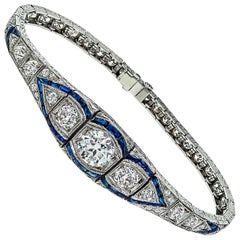 Art Deco GIA Cert 1.63 Center Diamond Sapphire Bracelet