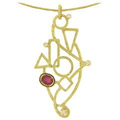 Sacchi 0.64 Carat Ruby and Diamond Gemstones 18 Karat Yellow Gold Wire Necklace
