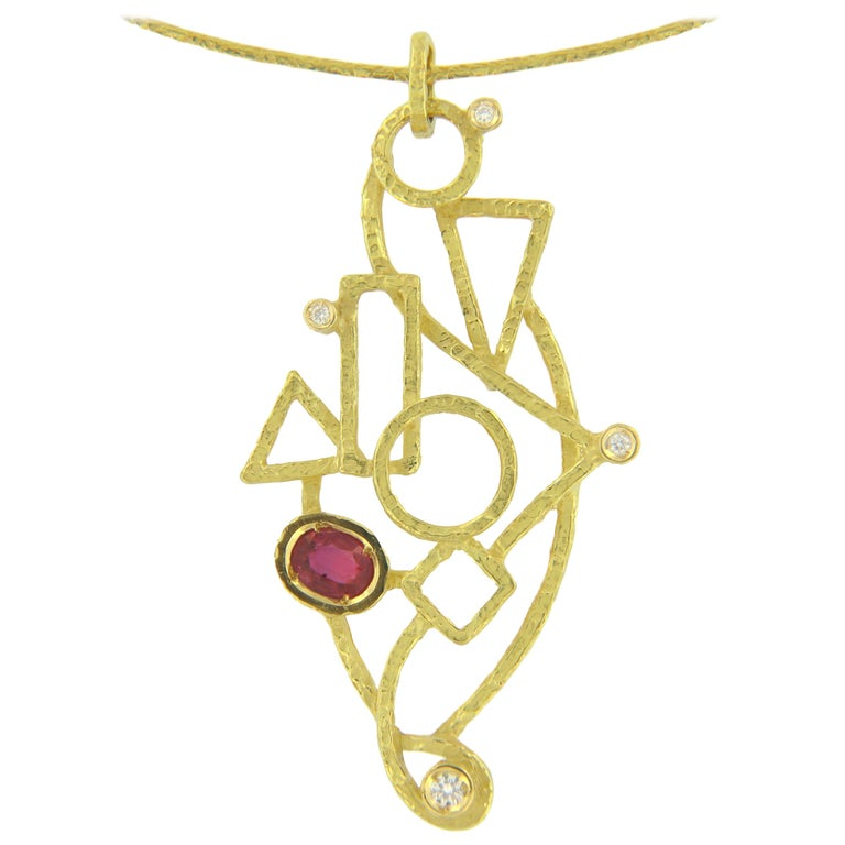 Sacchi 0.64 Carat Ruby and Diamond Gemstones 18 Karat Yellow Gold Wire Necklace For Sale