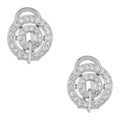 Round Cut Diamond Double Circle Earrings