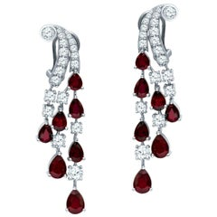 Platinum 9.68 Carat Ruby and Diamond Chandelier Drop Dangle Earrings 22 Grams
