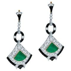 Antique Art Deco 8.58 Carat Diamond Colombian Emerald Platinum Dangle Earrings