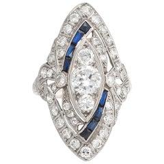 Antique Deco Diamond Sapphire Ring Platinum Navette Cocktail Vintage Jewelry 5.5