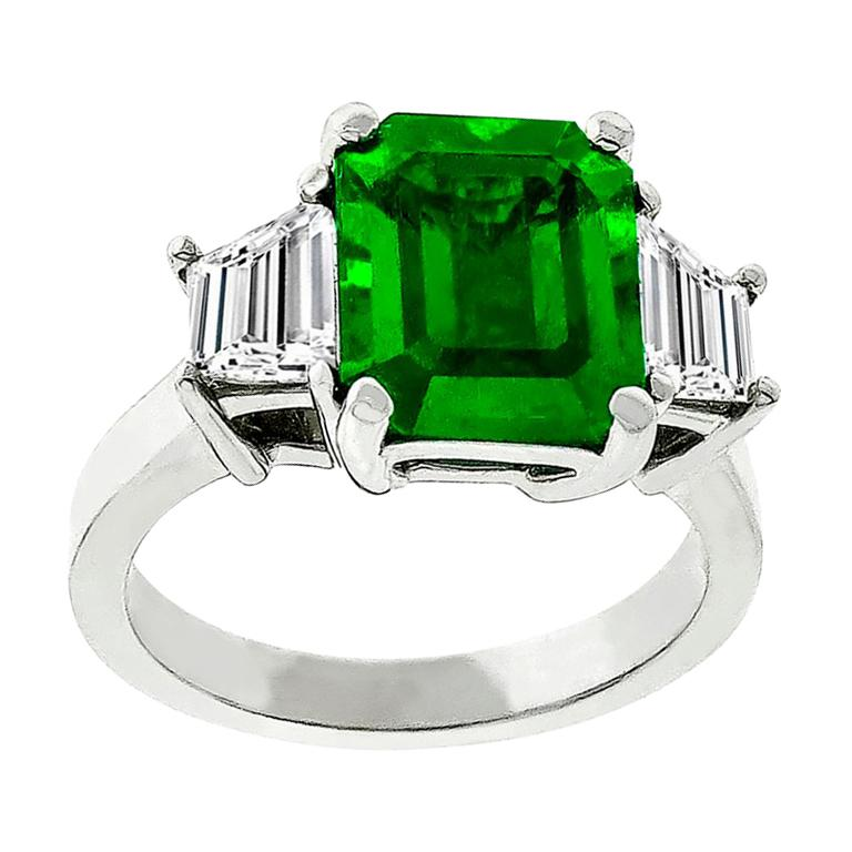 3.05 Carat Emerald Diamond Gold Engagement Ring For Sale