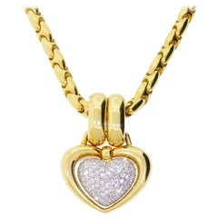 Chimento 14k Gold Diamond Love Heart Necklace & Pendant Large Heavy Bold 65 Gram