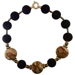 Michael Kneebone Jasper Lava Rock Hematite Bead Necklace