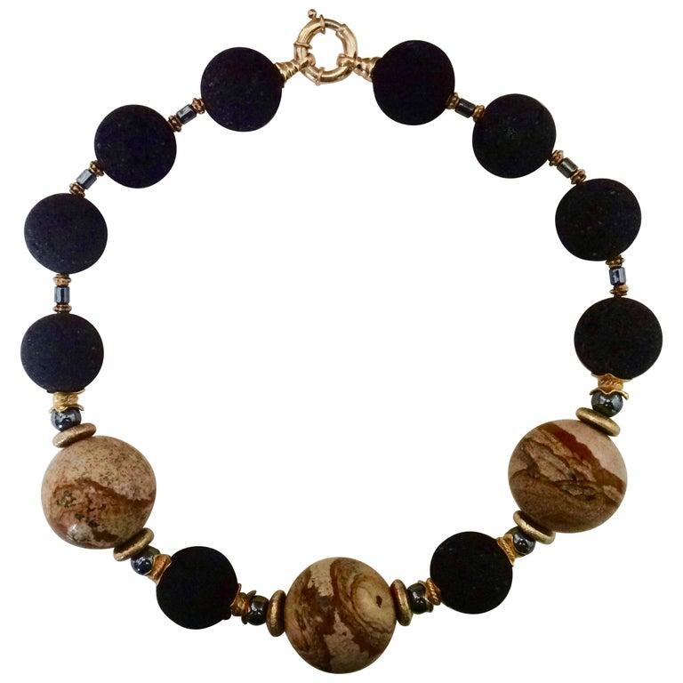 Michael Kneebone Jasper Lava Rock Hematite Bead Necklace For Sale