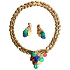 Boucheron 18 Carat Yellow Gold Enamel Necklace and Earrings Set with Diamonds