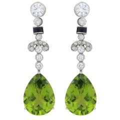 "15.50 Carat Peridot and Diamond Drop Earrings ""18k White Gold"""