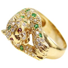 1980s Diamond Emerald Ruby 18 Karat Yellow Gold Jaguar Ring