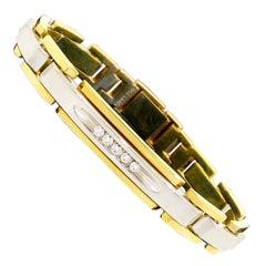 Men's 18 Karat White Gold Diamond Two-Tone Bracelet 55.8G by Birks 8.25 Wrist