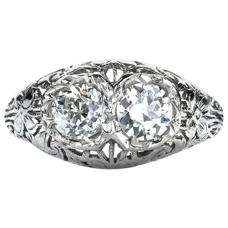 Antique Platinum 1.00 Carat Old European Cut Natural Diamond Engagement Ring