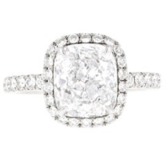 Harry Winston Cushion Cut Diamond Pavé Engagement Ring