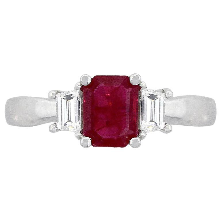 Emerald Cut Ruby and Trapezoid Diamond Three-Stone Ring For Sale