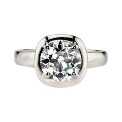 2.38 Carat Old European Cut Diamond White Gold Engagement Ring