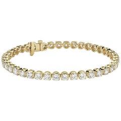 4 Carat Round Brilliant Cut Diamond Tennis Bracelet in 14 Karat White Gold