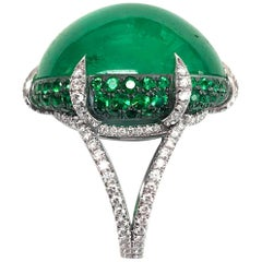 Bayco 47.05 Carat Cabochon Colombian Emerald Diamond Platinum Silver Ring
