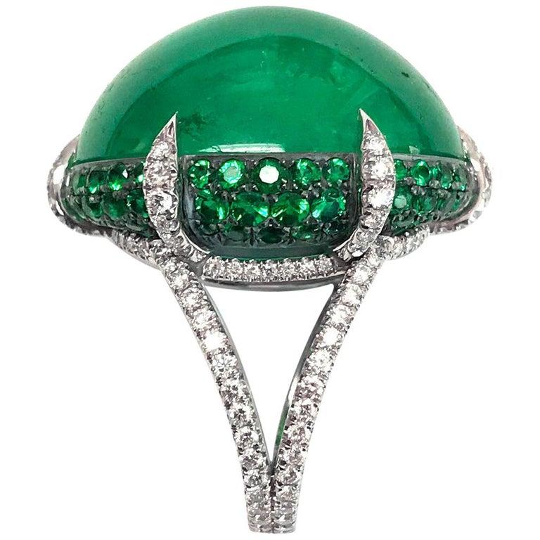 Bayco 47 05 Carat Cabochon Colombian Emerald Diamond