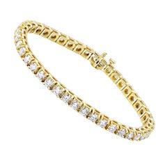 10 Carat Round Brilliant Cut Diamond Tennis Bracelet in 14 Karat White Gold