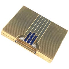 Cartier 1940s Art Deco Gold Diamond and Sapphire Compact
