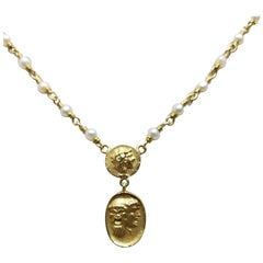 """Roman Coin"" Look on 14 Karat Wire and Pearl Necklace"