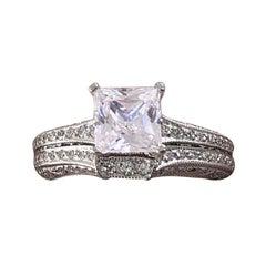 Tacori Crescent Diamond Engagement Ring Wedding Band Set 18 Karat White Gold