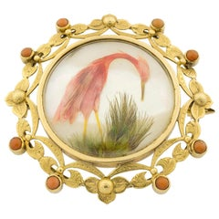 Victorian Coral Mother of Pearl 18 Karat Gold and Feathers Brooch