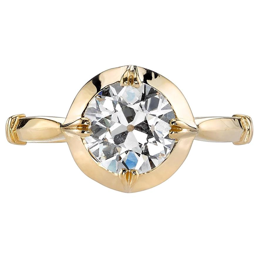 Handcrafted Logan Old European Cut Diamond Ring by Single Stone