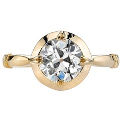 1.31 Carat Old European Cut Diamond Set in a Handcrafted Yellow Gold Ring