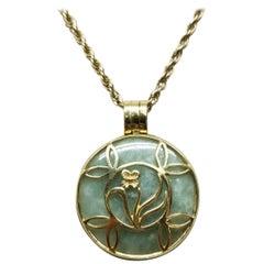"Jade ""Medallion"" 14 Karat Gold Pendant on Rope Chain"