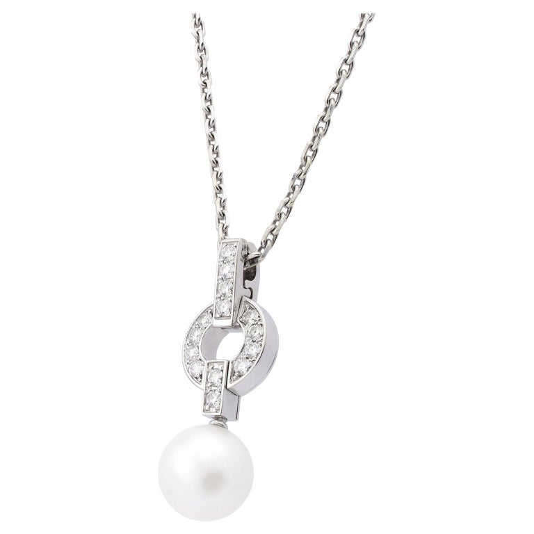 Cartier Himalia 18 Karat White Gold Diamonds Pearl Necklace For Sale