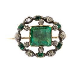 18 Karat Gold Early 19th Century Emeralds Diamonds Brooch