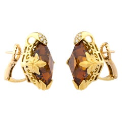 18 Karat Yellow Gold Carrera y Carrera Diamonds Citrines Earrings