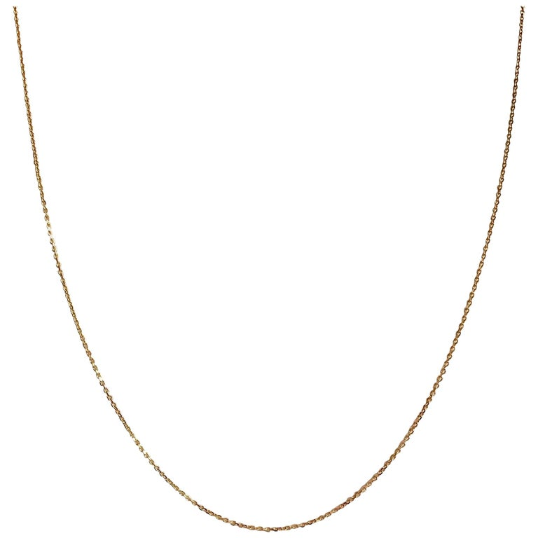 18 Karat Yellow Gold Fine Link Chain Necklace For Sale